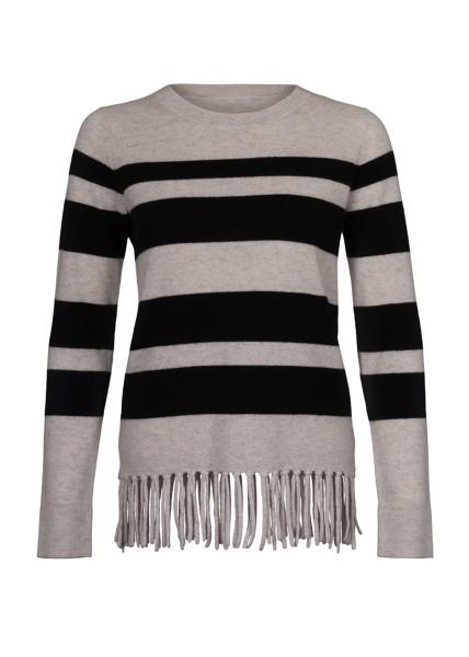 IPHORIA CASHMERE Fitted Jumper Stripes & Fringes black. Größe 2 1
