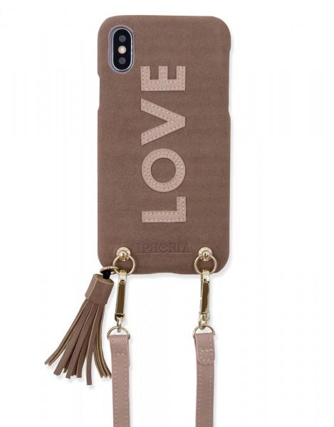 Necklace Strap Case for iPhone X /Xs -  Dark Beige Love 1