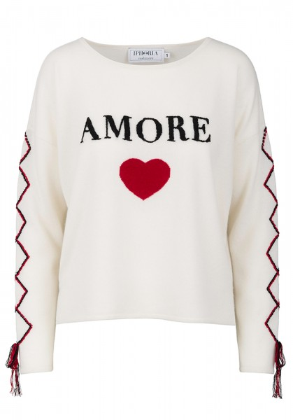 100% Cashmere Boxy Sweater - Amore White - Size 2 1