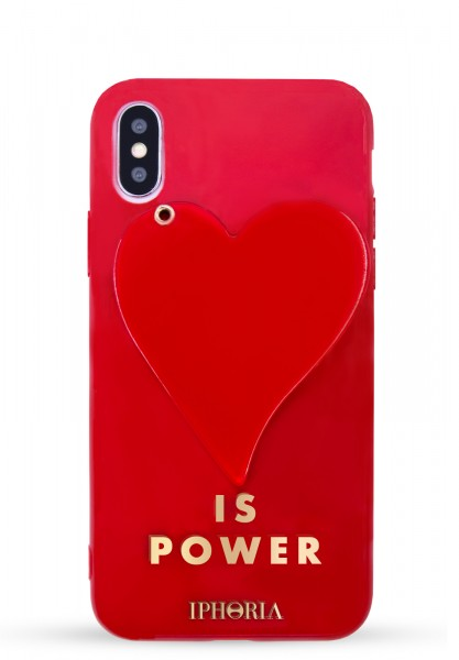 3D Case For Apple iPhone X/Xs - Red Heart Is Power - 1