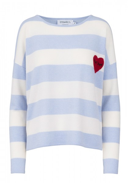 100% Cashmere Boxy Sweater - Stripes Heart Red - Size 1 1