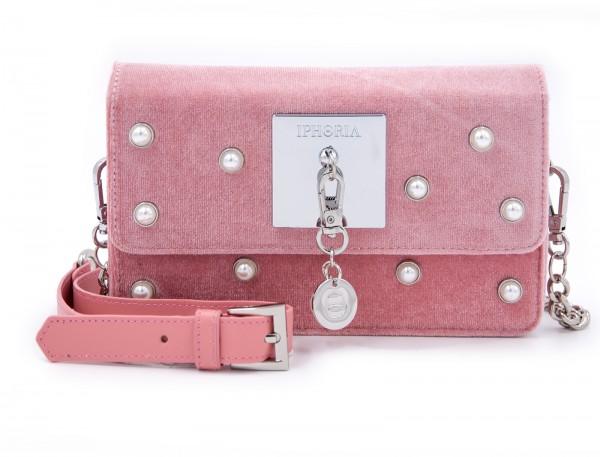 Micro Shoulder / Belt Bag - Velvet Pink With Pearls 1