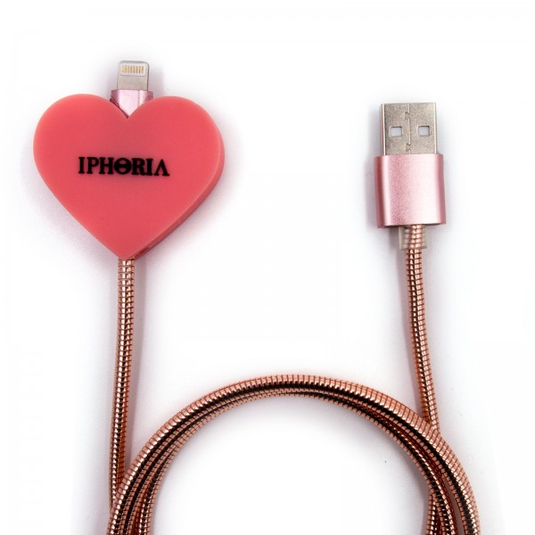 Charging Cable for Apple iPhone - Metallic Heart Rosa 1
