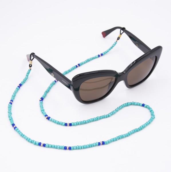 Glasses Strap Pearls - Turquoise with Blue 1