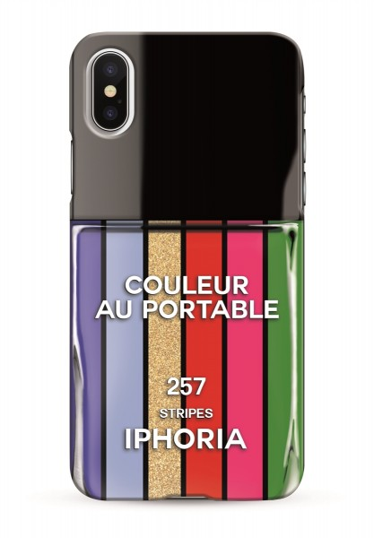 Case for Apple iPhone X / XS - Nailpolish Stripes Multicolor 1