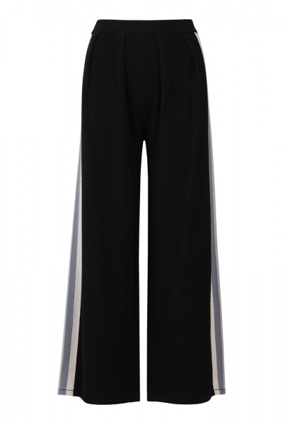 100% Cashmere Palazzo Pants - Stripes Black White Size 1 1