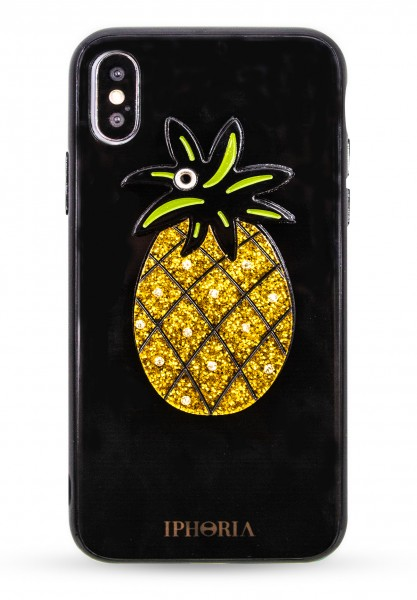 Case with Mirror for Apple iPhone X/XS - Black Pineapple Glitter 1