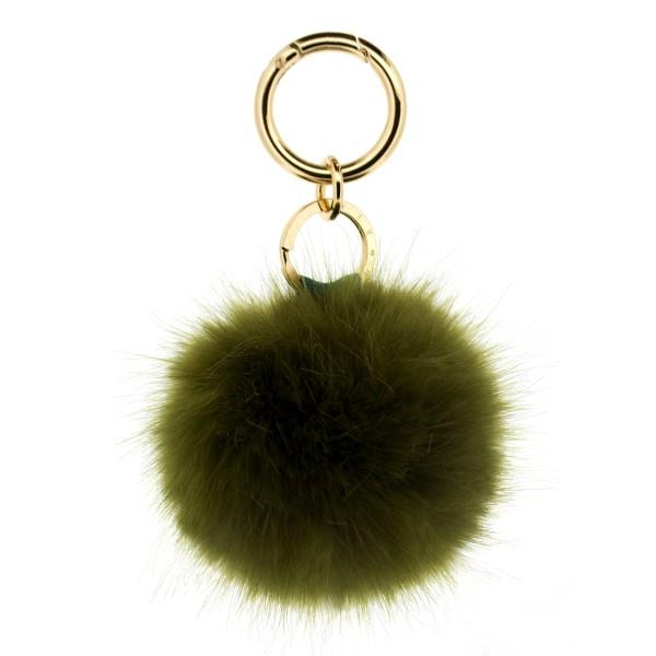 Fake Fur Keychain Olive 1