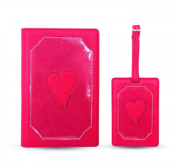 Travel Kit (Passport Holder + Luggage Tag) - Heart Transparent 1