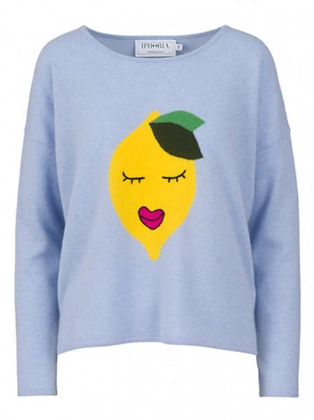 100% Cashmere Boxy Sweater - Blue Lovely Lemon - Size 0 1