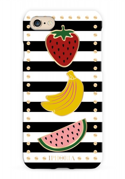 Case for Apple iPhone 7/8 - Stripes Black and White with Fruits 1