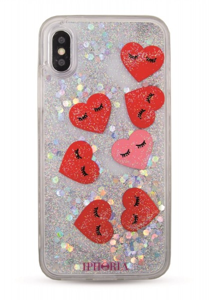 Liquid Case for iPhone X/XS - Hearts Transparent 1