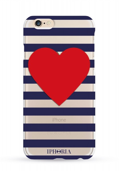 Stripy Heart Transparent für iPhone 6/ 6S 1