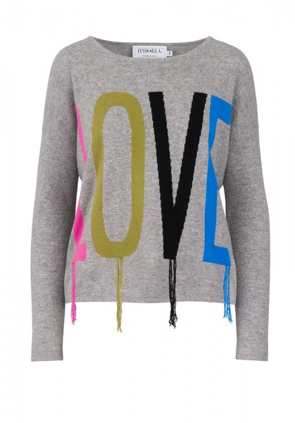 Cashmere Boxy Sweater - Grey LOVE YOU Multicolor - Size 2 1
