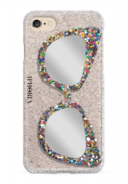 Case with Mirror for Apple iPhone 7/8 - Glitter Silver Sunglasses Glitter Multicolor 1