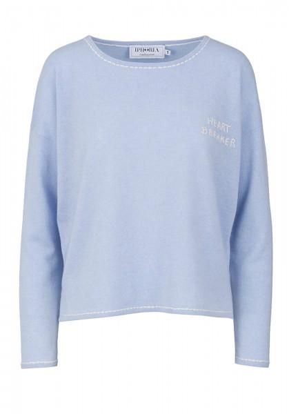 100% Cashmere Boxy Sweater - Heartbreaker Blue - Size 1 1