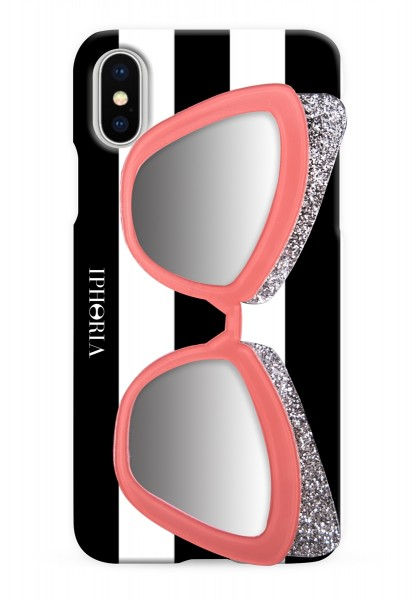Case with Mirror for Apple iPhone X - Sunglasses Pink Glitter 1