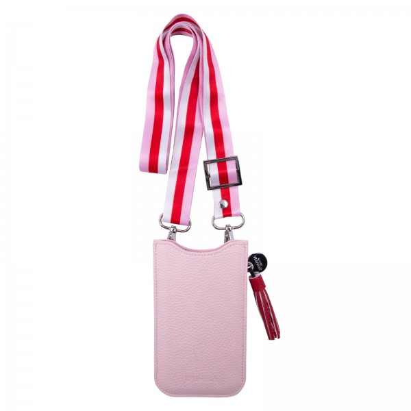 Necklace Sleeve Case for Apple iPhone 6/7/8/X/Xs  (Kombi) with Red/Rose Strap - Nude 1