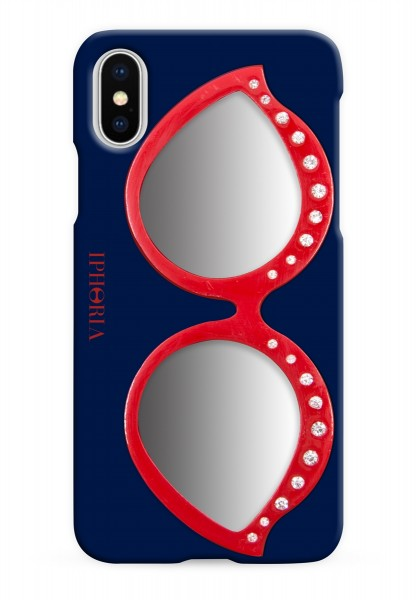 Case with Mirror for Apple iPhone X/XS - Sunglasses Red 1