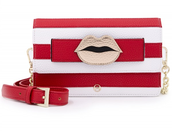 Micro Shoulder /Belt Bag - Red Stripes Lips 1