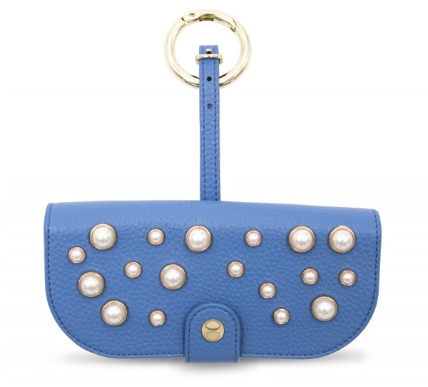 Glasses Case with Bag Holder - Blue with Pearls 1