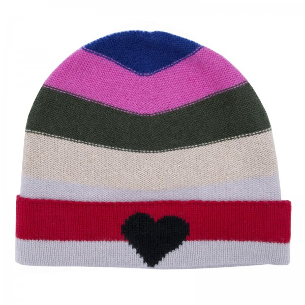 100% Cashmere Beanie - Multicolor Heart 1
