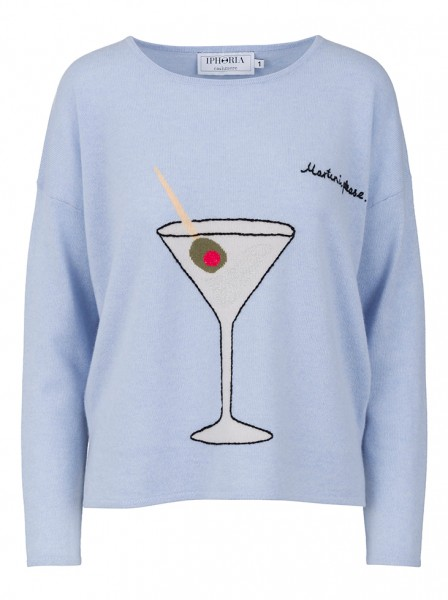 100% Cashmere Boxy Sweater - Martini Blue - Size 1 1