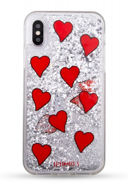 Liquid Case for Apple iPhone X/XS - Transparent with Floating Red Hearts 1