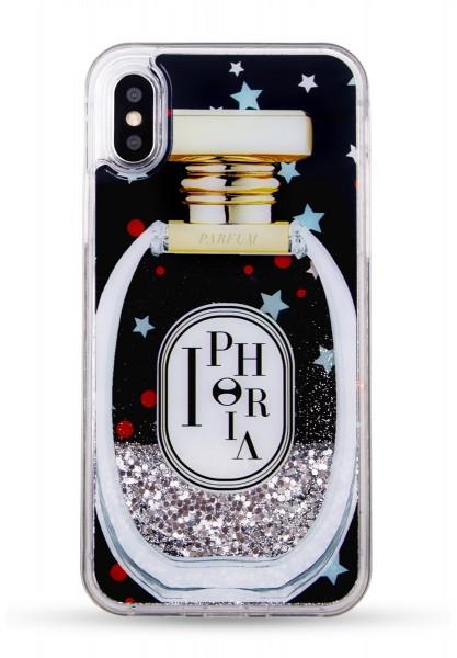 Liquid Case for Apple iPhone X/XS - Perfume Round Black Little Stars 1
