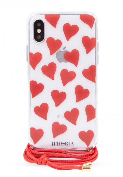 Necklace Case for Apple iPhone X/XS - Transparent Hearts 1