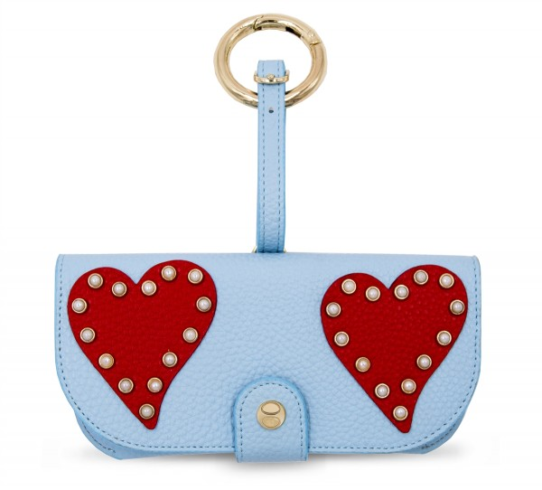 Glasses Case with Bag Holder - Blue Hearts Red 1