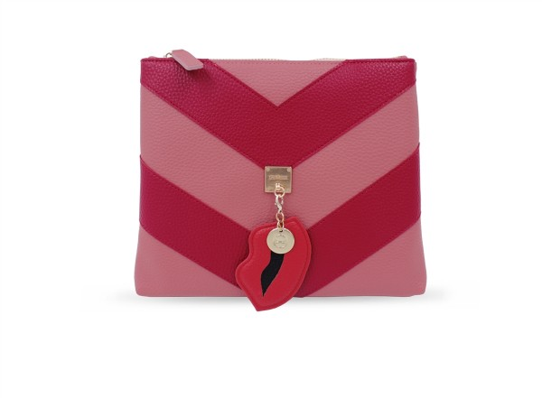 Cosmetic Bag Lining Stripes in rot/rosa 1
