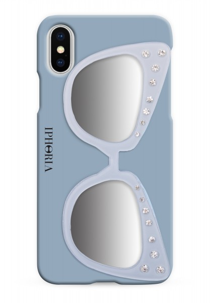 Case with Mirror for Apple iPhone X - Sunglasses Light Blue 1