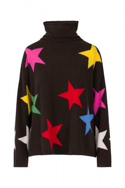 100% Cashmere Turtleneck Sweater - All The Stars Multicolor Size 1 1