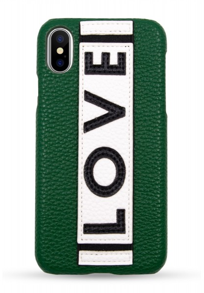 Veggie Leather Case for Apple iPhone X/XS - Green LOVE 1