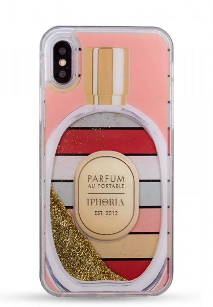Liquid Case for Apple iPhone X/XS - Perfume Round Coral Stripes 1