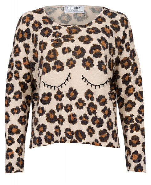 Cashmere Fitted Jumper Leopard Eye. Größe 1 1