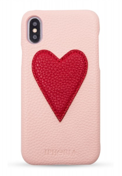 Veggie Leather Case for Apple iPhone X/XS - Heart Nude Red 1