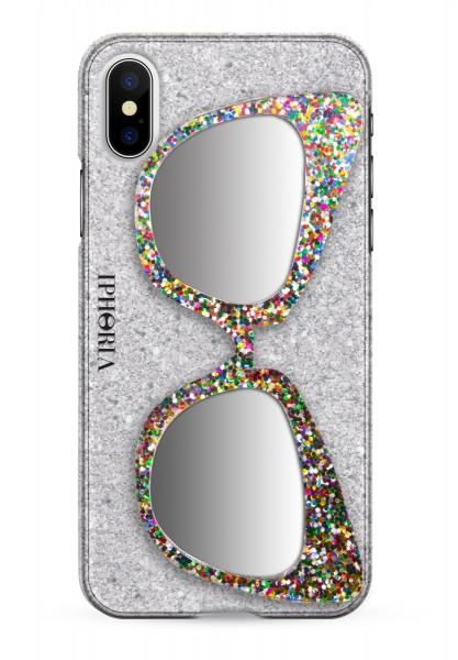 Case with Mirror for Apple iPhone X/XS - Glitter Silver Sunglasses Glitter Multicolor 1
