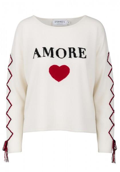 100% Cashmere Boxy Sweater - Amore White - Size 1 1