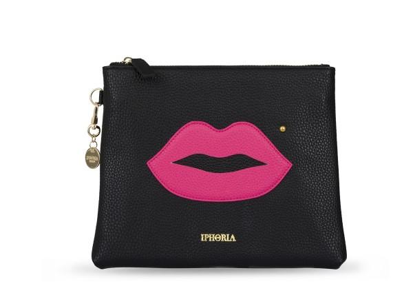 Black Cosmetic Bag Pink Lips 1