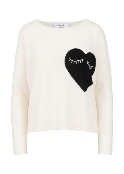 Cashmere Boxy Sweater - White Small Heart Black Size 1 1
