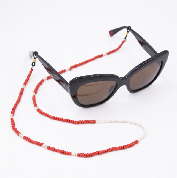 Glasses Strap Pearls - Red with White 1