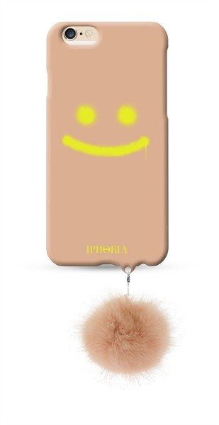 Good Vibes Nude mit Nude Racoon Fake Fur Pom Pom für Apple iPhone 6/ 6S 1