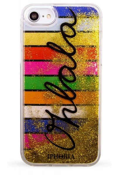 Liquid Case for Apple iPhone 7/8 - Multicolor Strips Oh lala Golden Glitter 1