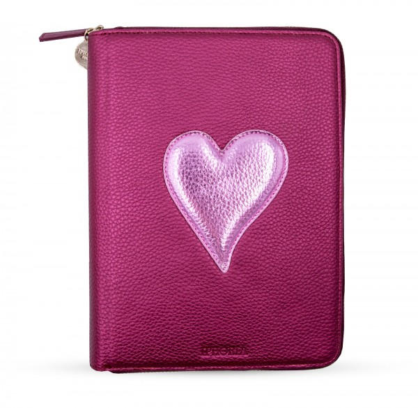 Travel Wallet - Burgundy Red with Heart 1