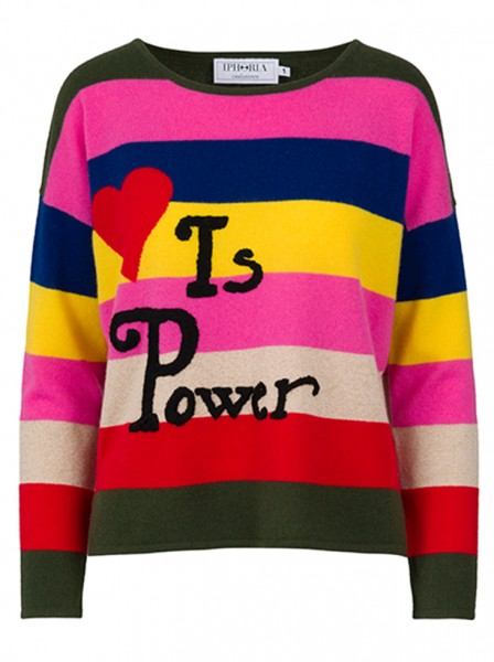 100% Cashmere Boxy Sweater - Multicolor Love Is Power - Size 2 1