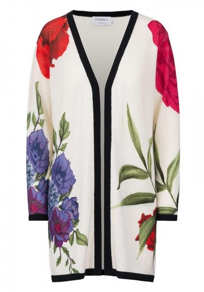 100% Cashmere Cardigan - Flowers Multicolor - Size 0 1