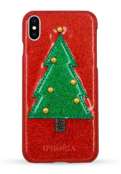 Veggie Leather Case for Apple iPhone X - Christmas Tree Glitter 1
