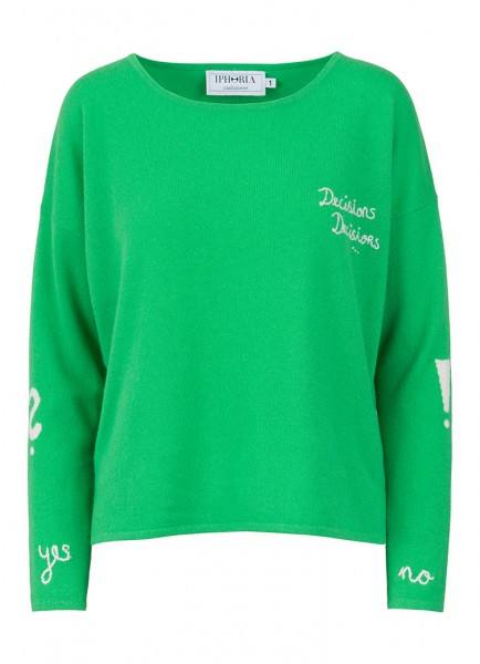 100% Cashmere Boxy Sweater - Decisions Green - Size 0 1